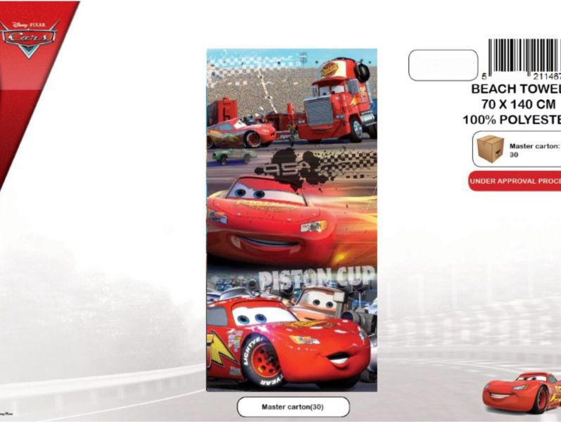 Toalla playa micro cars 100-248