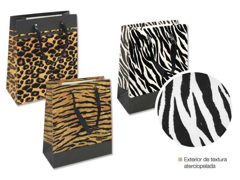 Bolsa papel terciop.animal print peq.