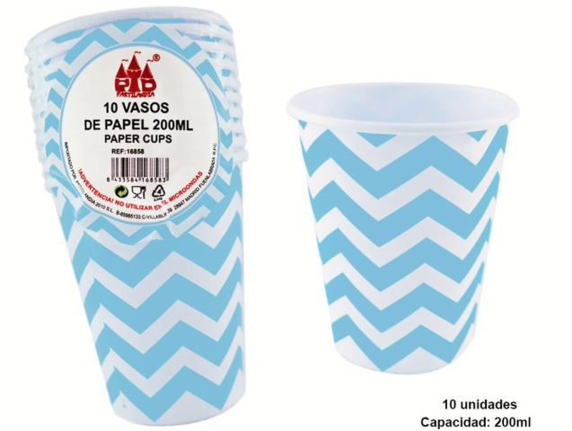 Vasos de papel zigzag 200ml 10pc azul