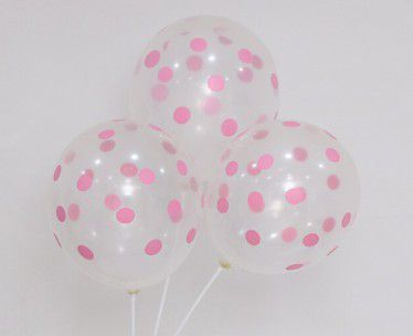 Globos latex dots rosa pack 10