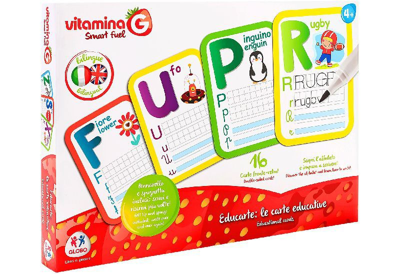Bilingual educational cards 16 pcs w/pen/sponge