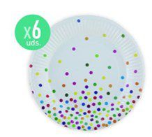 6 platos 23cm. 300gr. dots multicolor