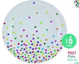 6 platos 18cm. 300gr. dots multicolor