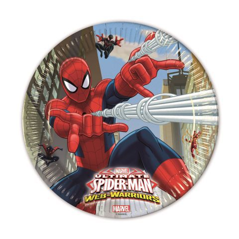 Platos 23cm spiderman web w. (8und)