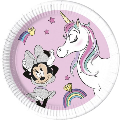 Platos 23cm minnie unicornio compostable (8und)