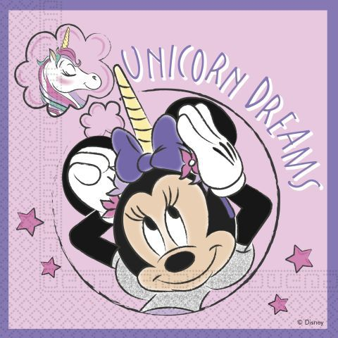 Servilletas 33x33 minnie unicornio compostable 3pl