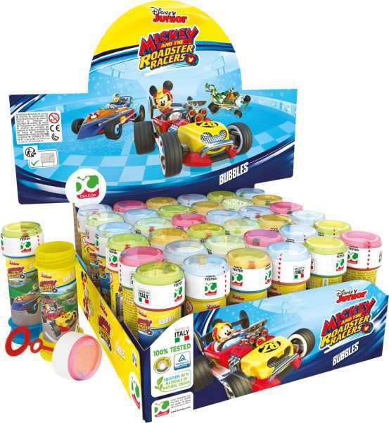 Tubo pompas jabon 60 ml. mickey & roadster racers