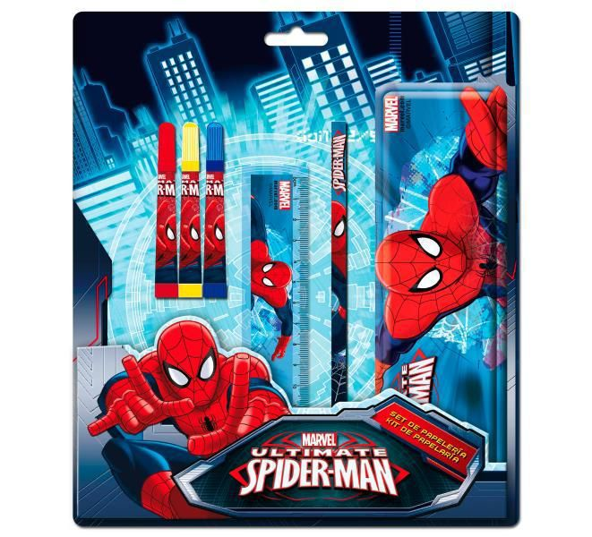 Set papeleria con estuche metalico spiderman